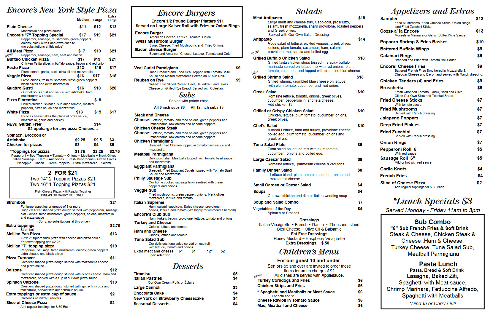 view Brother's Encore Menu